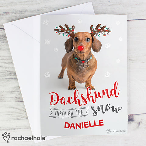 Buy Personalised Rachael Hale Christmas Dachshund Through the Snow Card