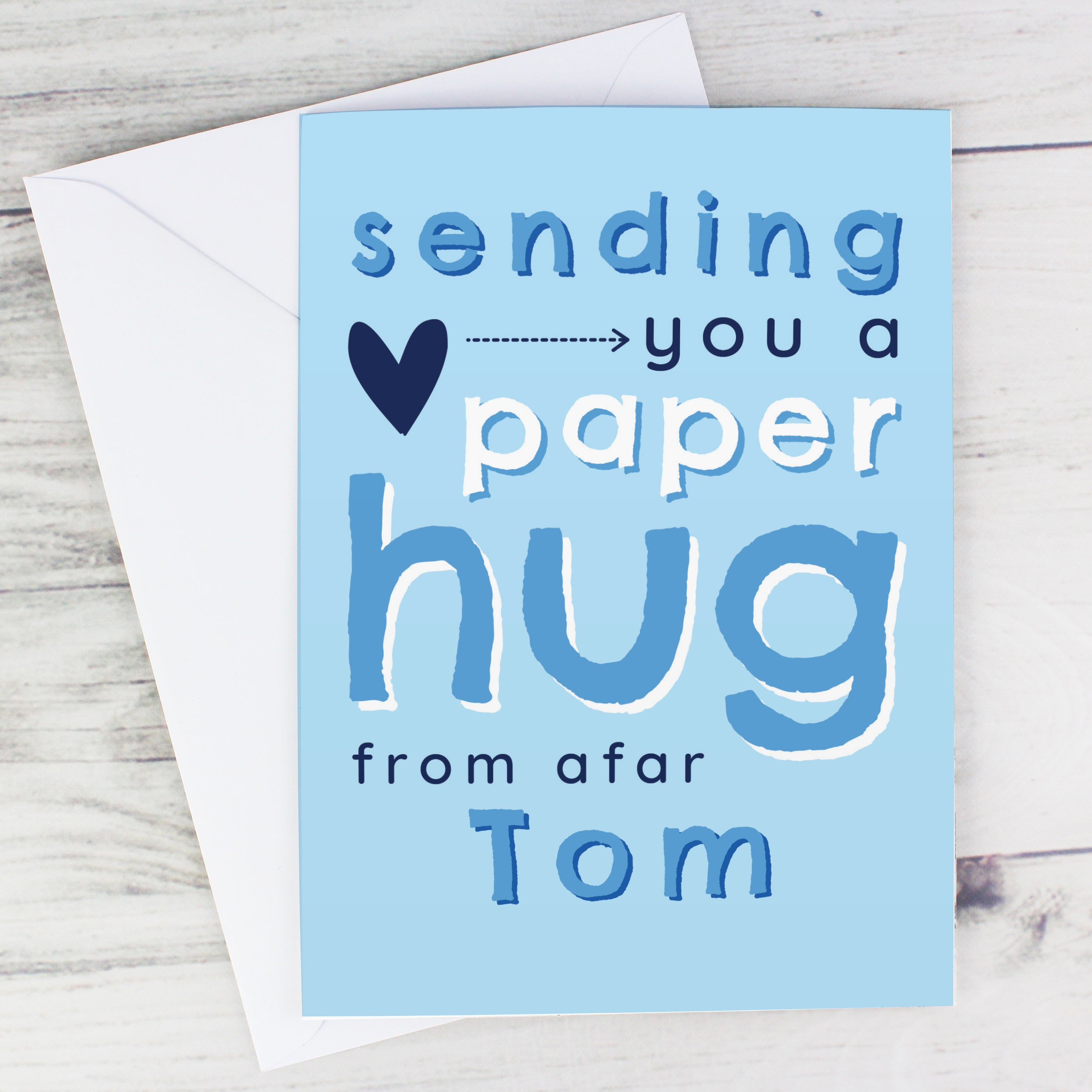 Personalised Blue Hug From Afar Card, Arts & Entertainment by Gifts24-7