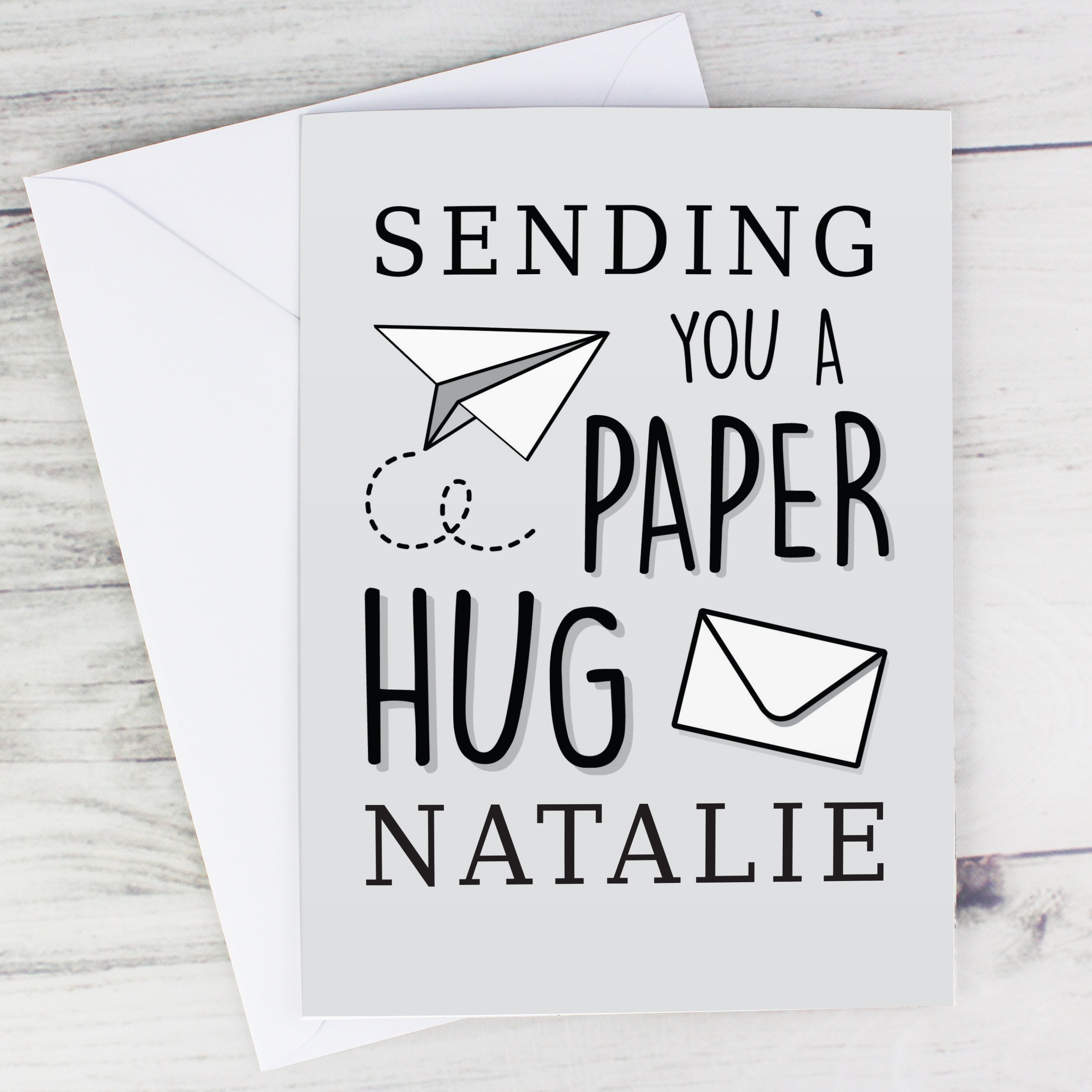 Personalised Grey Hug From Afar Card, Greeting & Note Cards by Low Cost Gifts
