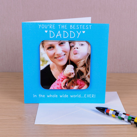 You're The Bestest Personalised (BLUE) Coaster Card - Photo Upload