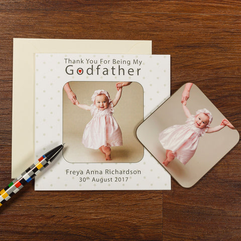 Coaster Card - Photo Upload Godmother, Godfather or Godparents | Gifts24-7.co.uk