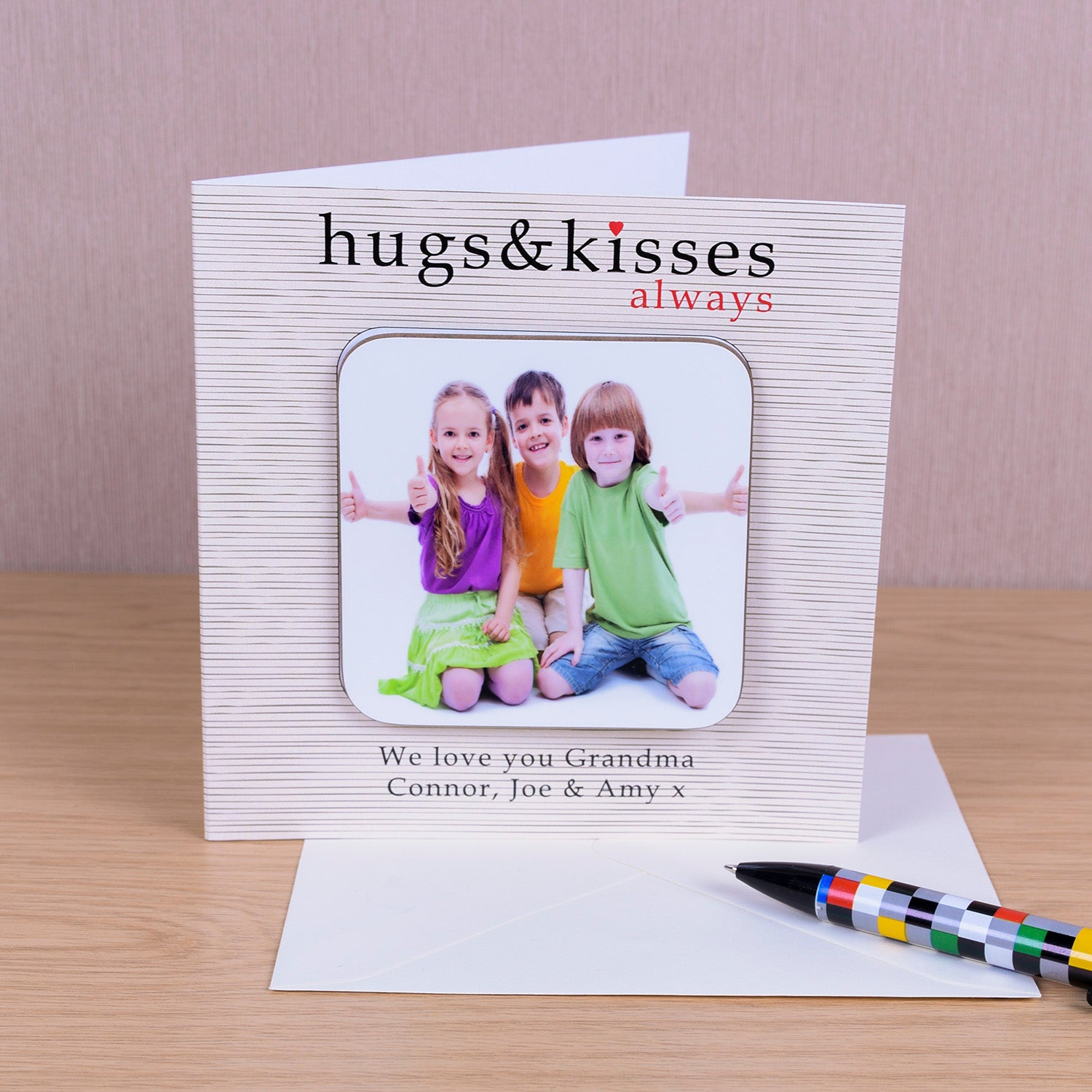 Hugs & Kisses always Coaster Card - Photo Upload, Barware by Gifts24-7