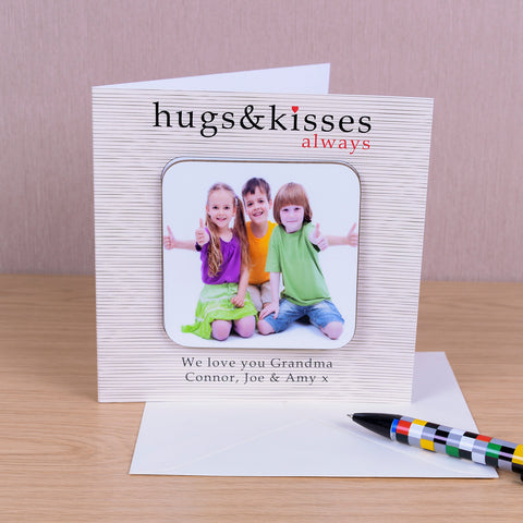 Hugs & Kisses always Coaster Card - Photo Upload