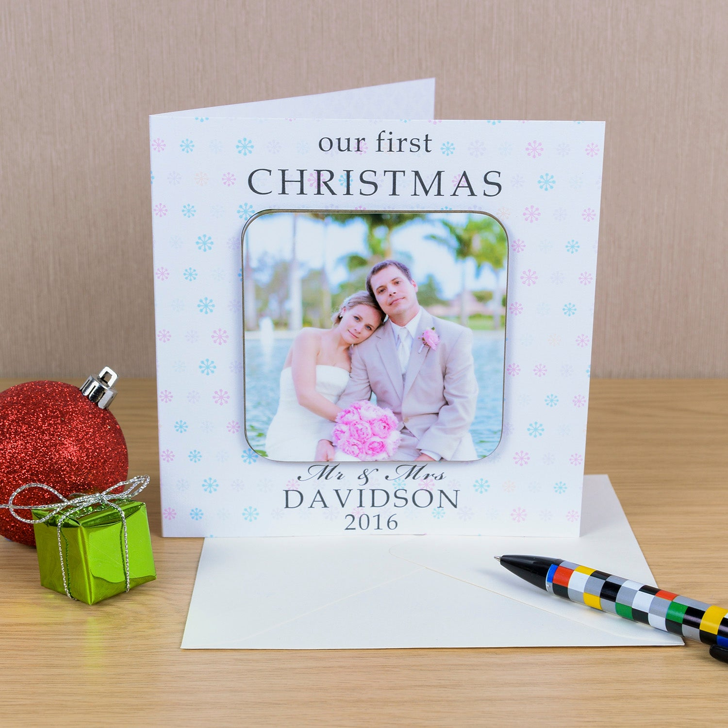 Coaster Card - Photo Upload - Our First Christmas, Home & Garden by Low Cost Gifts