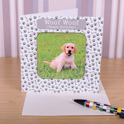 Woof Woof Birthday Coaster Card - Photo Upload