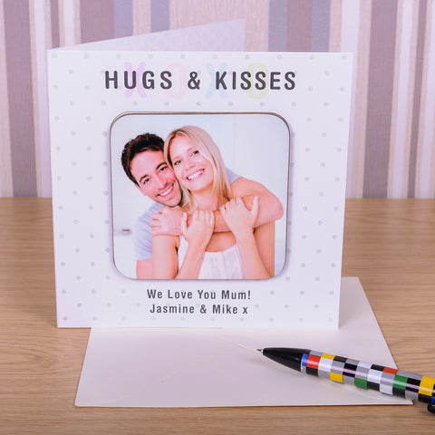 Hugs & Kisses Coaster Card - Photo Upload