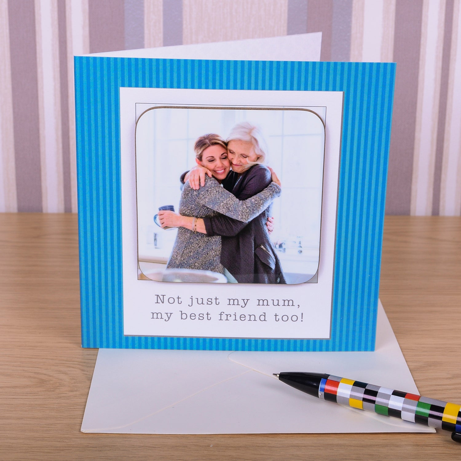 Any Occassion Blue Coaster Card - Photo Upload, Barware by Gifts24-7