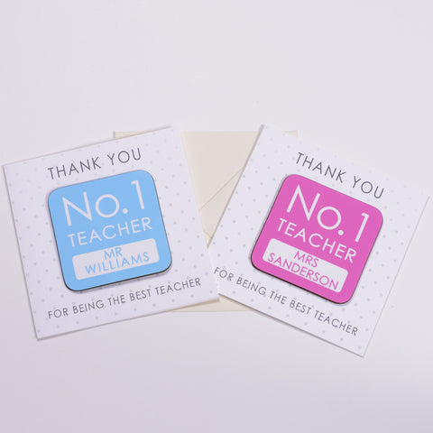 Coaster Card - No.1 Teacher Pink or Blue Design | ShaneToddGifts.co.uk