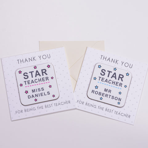 Coaster Card - Star Teacher Pink or Blue Design | Gifts24-7.co.uk