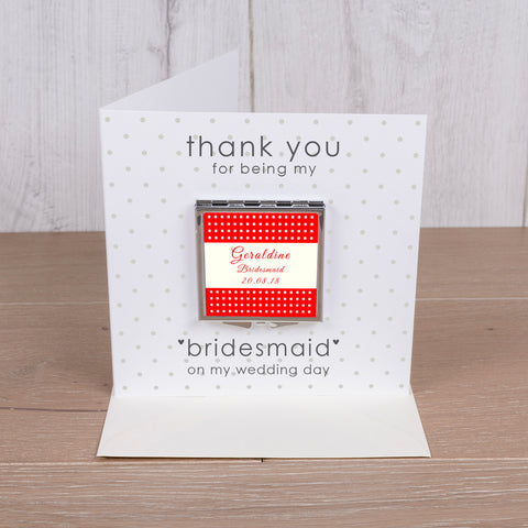 Card with Compact Mirror - Wedding
