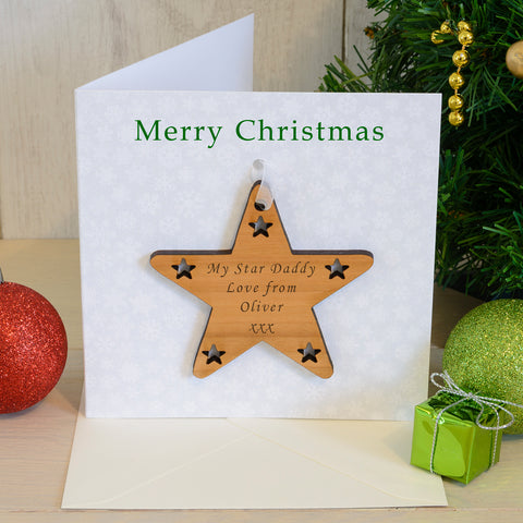 Merry Christmas Card with Star Decoration