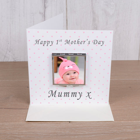 Card with Compact Mirror - 1st Mothers Day | Gifts24-7.co.uk