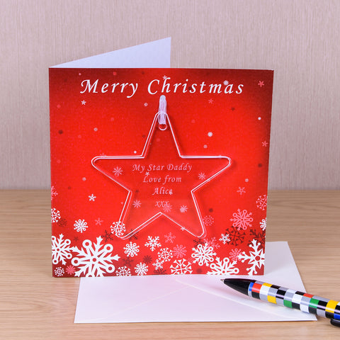 Greeting Card with Star Decoration | Gifts24-7.co.uk