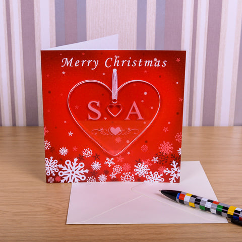 Greeting Card with Initials Heart Decoration | Gifts24-7.co.uk