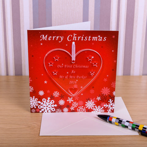 Greeting Card with Heart Decoration Our First Christmas | Gifts24-7.co.uk