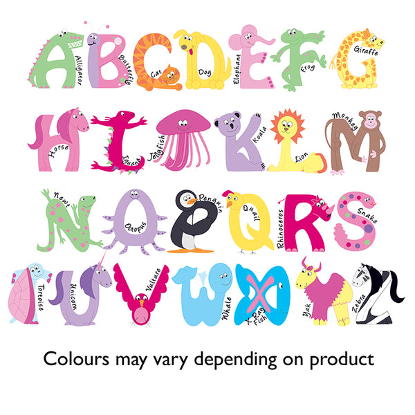 Personalised Pink Animal Alphabet Swim & Kit Bag
