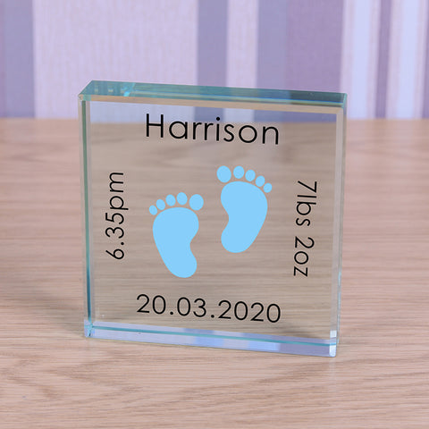 Glass Token - Baby Feet  Pink or Blue
