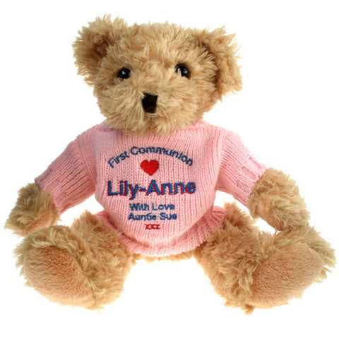 Personalised 1st Communion Teddy Bear for a Girl - Shane Todd Gifts UK