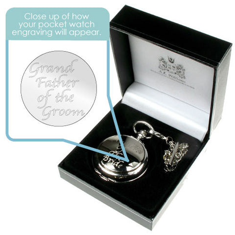 Engraved Grandfather of the Groom Pocket Watch | ShaneToddGifts.co.uk