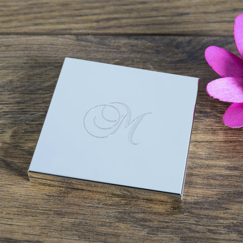 Square Compact Mirror with Initial | Gifts24-7.co.uk