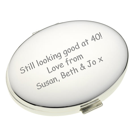 Silverplated Oval Handbag Mirror | Gifts24-7.co.uk
