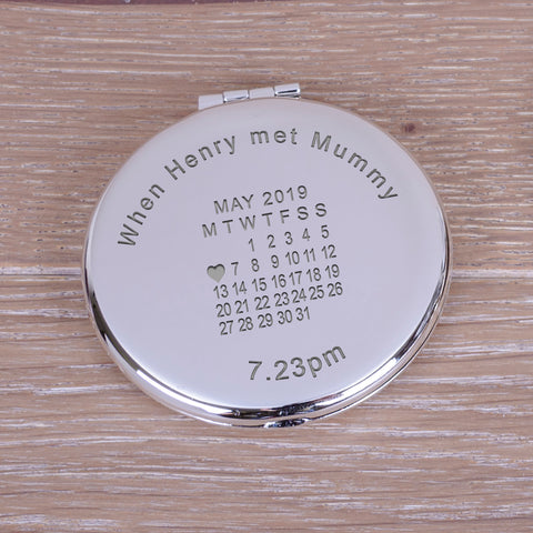 Personalised Round Compact Mirror When...met...