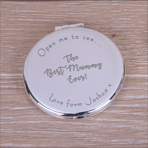 Personalised Round Compact Mirror Best...Ever!