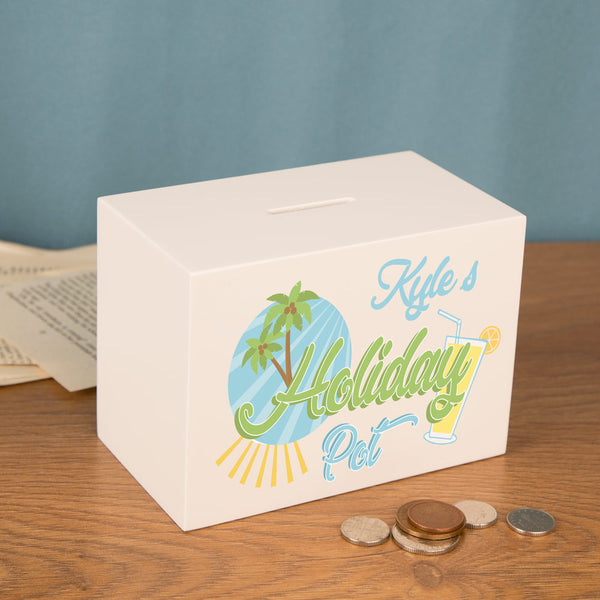 Personalised Holiday Pot Money Box