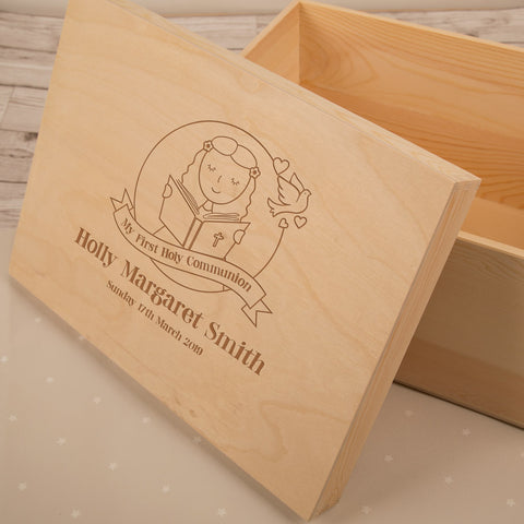 Personalised 1st Communion Keepsake Box for a Girl