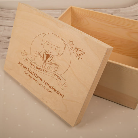 Personalised 1st Communion Keepsake Box for a Boy