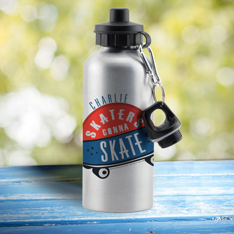 Personalised HotchPotch Skaters Gonna Skate Silver Drinks Bottle