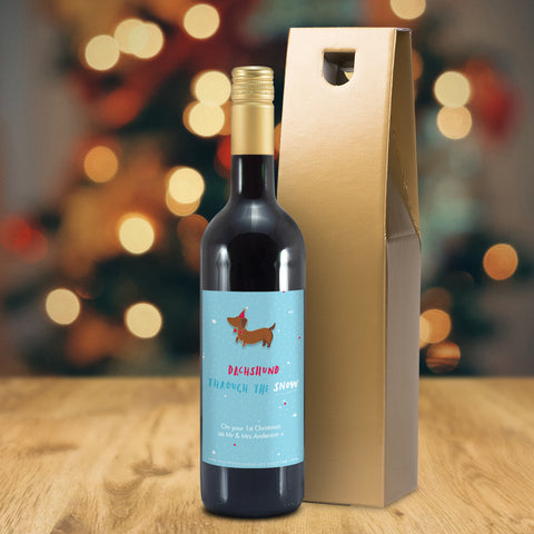 Personalised HotchPotch Dachshund Through The Snow Mulled Wine