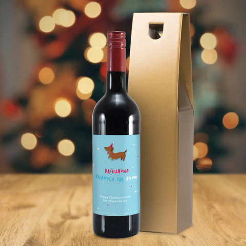 Personalised HotchPotch Dachshund Through The Snow Red Wine
