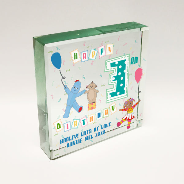 Personalised In The Night Garden Birthday Glass Block
