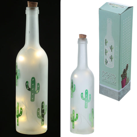 Decorative LED Glass Cactus Bottle Light