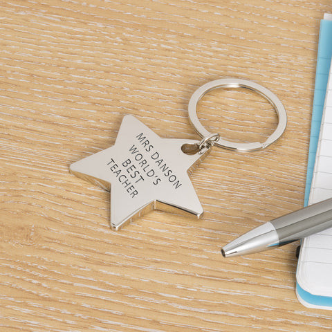 Star Key Ring - Worlds Best Teacher | Gifts24-7.co.uk