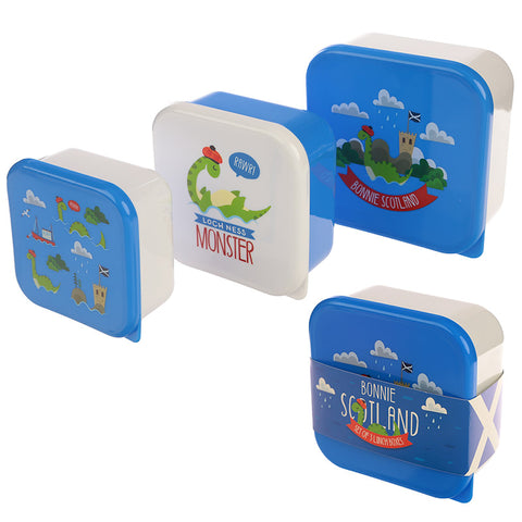 Fun Nessie Design Set of 3 Plastic Lunch Boxes