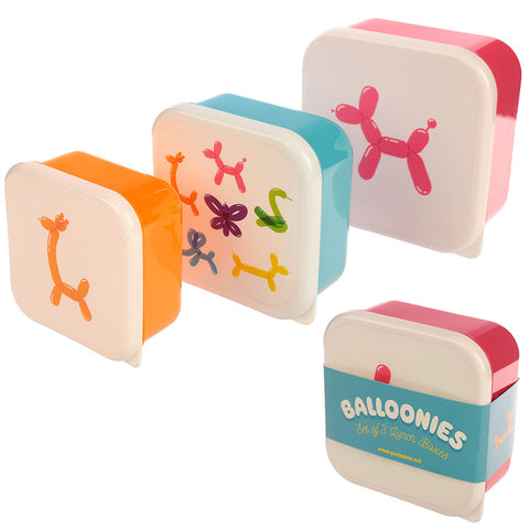 Cute Balloon Animals Design Set of 3 Plastic Lunch Boxes