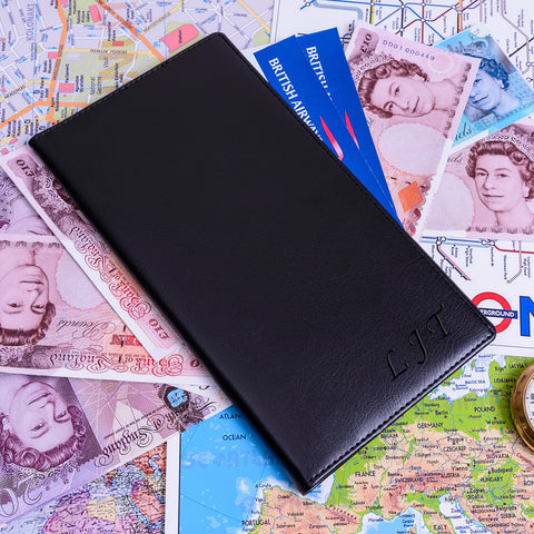Personalised soft faux leather Travel Wallet with Initials | Gifts24-7.co.uk