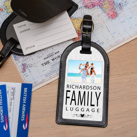Personalise Faux Leather Luggage Tag - Family