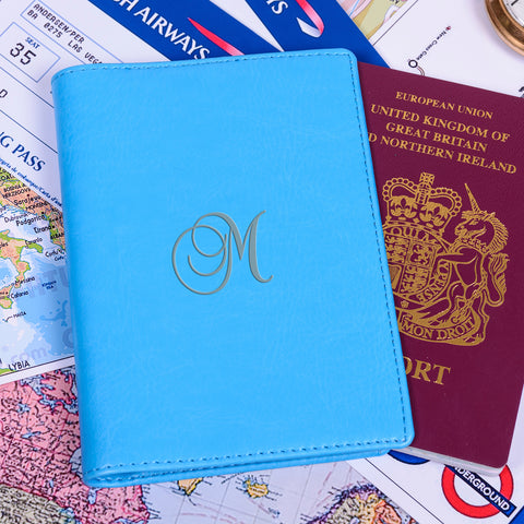 Blue Personalised Passport Holder - Script Initial | Gifts24-7.co.uk