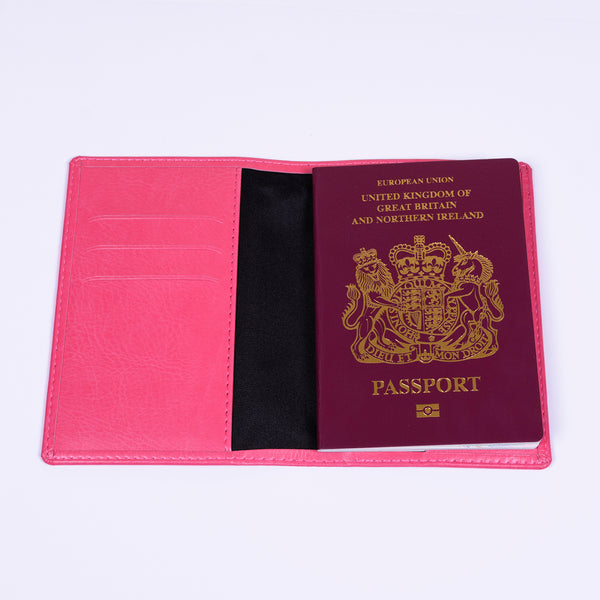 Pink  Personalised Passport Holder - Script Initial | Gifts24-7.co.uk