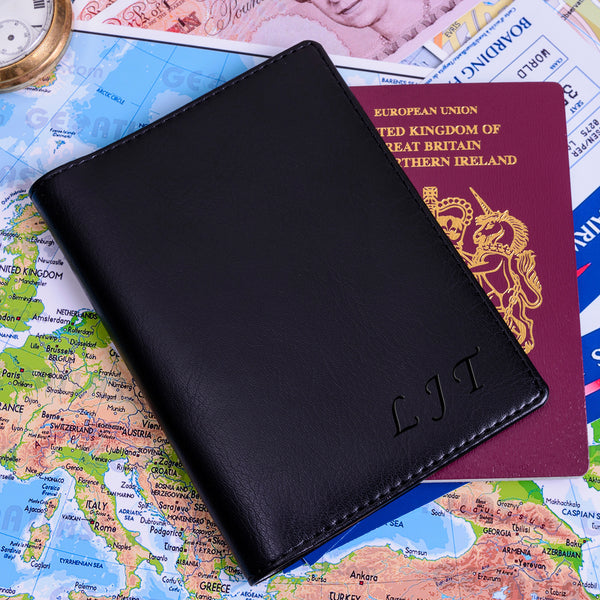 Personalised Soft Faux Leather Passport Holder with Initials | Gifts24-7.co.uk