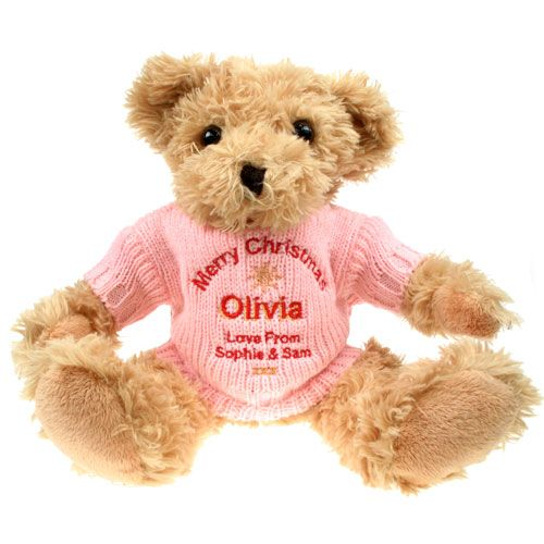 Personalised Christmas Light Brown Teddy Bear, Toys & Games by Gifts24-7