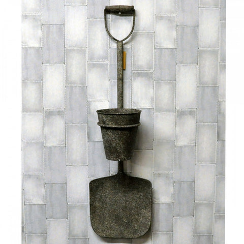 Garden Rusty Metal Spade With Pot