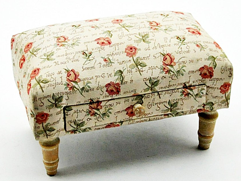 Roses Design Footstool With Drawer, Furniture by Low Cost Gifts