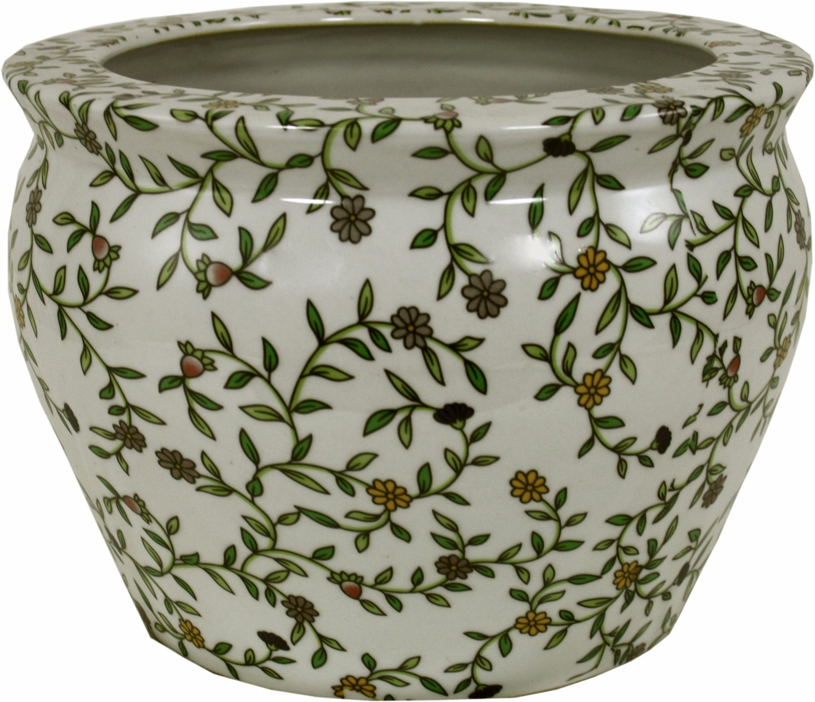 Ceramic Planter, Vintage Green & White Floral Design, Lawn & Garden by Low Cost Gifts