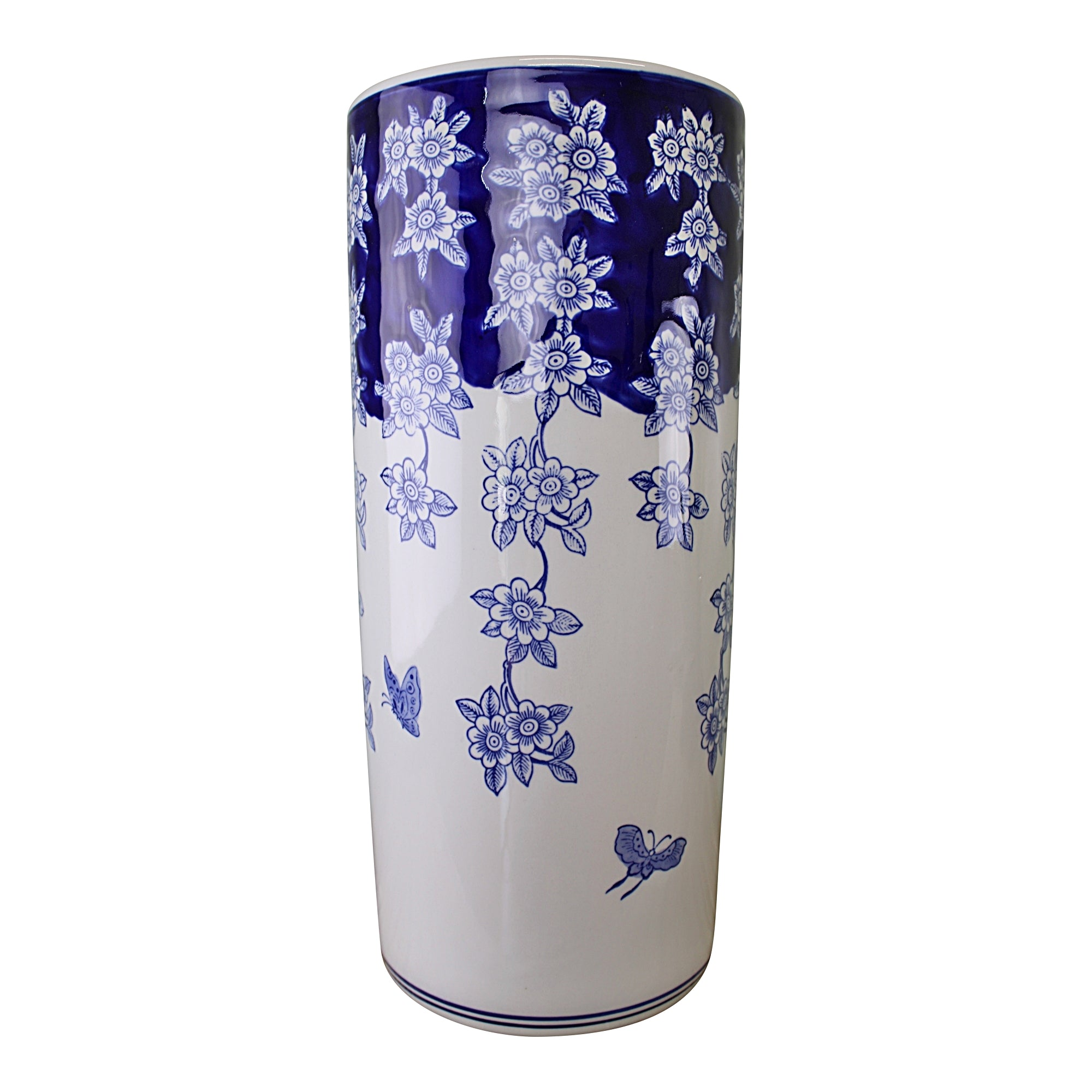 Umbrella Stand, Vintage Blue & White Flowers and Butterfly Design, Parasols & Rain Umbrellas by Low Cost Gifts