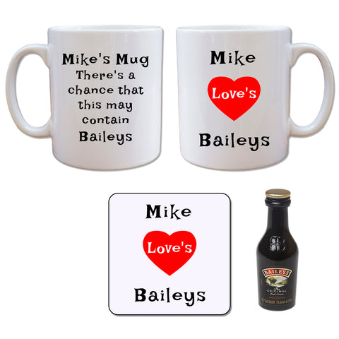 Personalised Mug - Coaster - Baileys Set