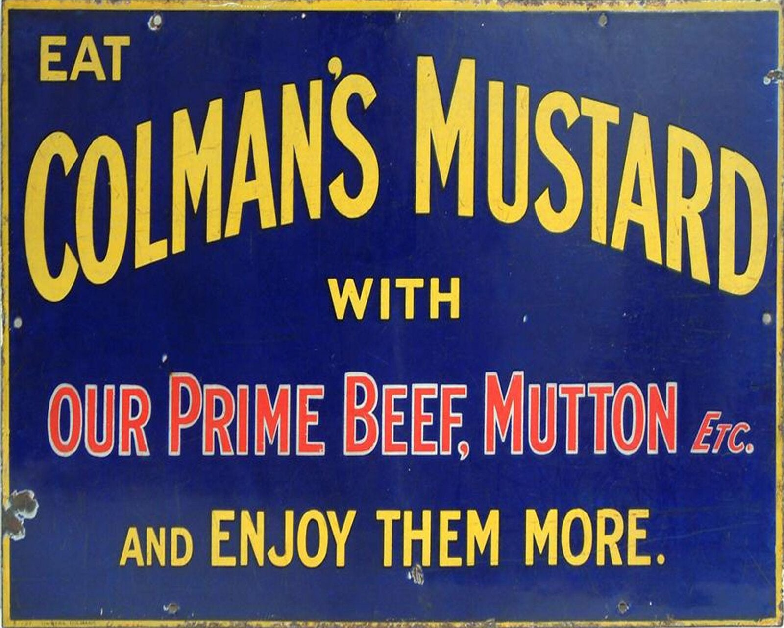 Vintage Metal Sign - Retro Advertising - Colmans Mustard, Signage by Low Cost Gifts